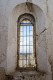 Tall window of Portuguese fort in Lobito, Angola. The fort lies in ruins Stock Image
