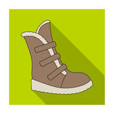 Tall winter boots made of wool with Velcro. Shoes for explorers.Different shoes single icon in flat style vector symbol. Stock web illustration Royalty Free Stock Images
