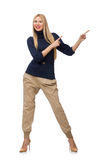 The tall woman in blue pullover isolated on white Stock Photo