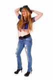 Tall woman in jeans. Stock Photos