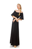 Tall woman in long black dress isolated on white Stock Photo