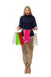 Tall woman with plastic bags isolated on white Royalty Free Stock Photography