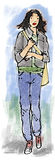 Tall woman. Tall young woman walking forwards Royalty Free Stock Image