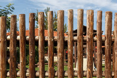 Tall wooden fence of a backyard Stock Images
