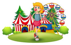A tall young girl at the carnival. Illustration of a tall young girl at the carnival on a white background Royalty Free Stock Image