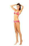 Tall young girl in swimming suit isolated royalty free stock photos
