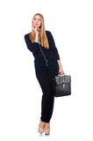 Tall young woman in black clothing with handbag Royalty Free Stock Images
