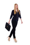Tall young woman in black clothing with handbag Stock Image