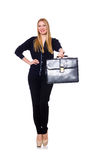 Tall young woman in black clothing with handbag Stock Photos