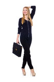 Tall young woman in black clothing with handbag Royalty Free Stock Image