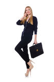 Tall young woman in black clothing with handbag Stock Photo