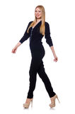Tall young woman in black clothing isolated on Stock Photo