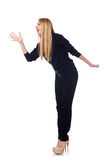 Tall young woman in black clothing isolated on Stock Photos