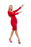 The tall young woman in red dress isolated on white Royalty Free Stock Image