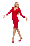 The tall young woman in red dress isolated on white Stock Photography