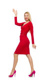 The tall young woman in red dress isolated on white Royalty Free Stock Photo
