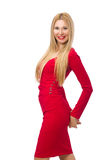 The tall young woman in red dress isolated on white Royalty Free Stock Photos