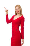 The tall young woman in red dress isolated on white Stock Images