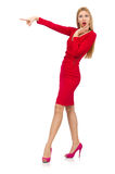 The tall young woman in red dress isolated on white Stock Photos