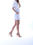 Party white dress, white background Royalty Free Stock Images