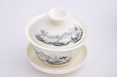 Talla de la taza de té Imágenes de archivo libres de regalías