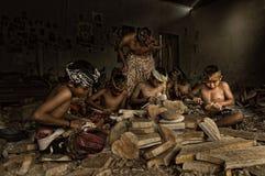 Talla de madera de Bali Foto de archivo libre de regalías