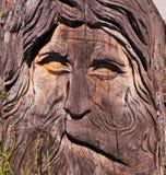 Talla de madera de la cara Imágenes de archivo libres de regalías