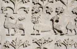 Talla de piedra. Catedral del St Demetrius (1193-1197) Fotografía de archivo
