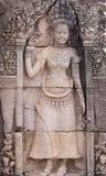Talla de piedra de los bailarines de Apsara Fotografía de archivo libre de regalías