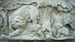 Talla de piedra del león chino Imagen de archivo
