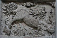Talla de piedra del loong chino Fotografía de archivo