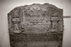 Talla de piedra heráldica medieval Imagen de archivo libre de regalías