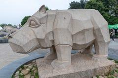 Talla de piedra de la Hipopótamo-piedra Fotos de archivo