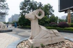 Talla de piedra de la oveja-piedra Fotografía de archivo