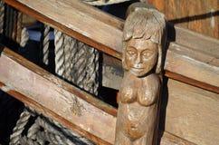 Talla de una nave histórica de la vela Foto de archivo