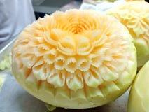 Talla tailandesa de la fruta del cantalupo del melón Fotos de archivo libres de regalías