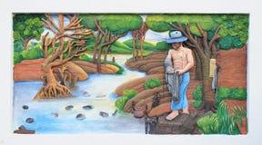 Talla y pintura de piedra de la cultura tailandesa tradicional Imágenes de archivo libres de regalías