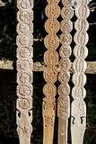 3 tallados de madera decorativos Fotografía de archivo