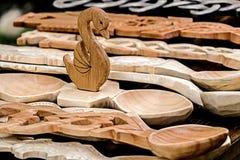 3 tallados de madera decorativos Fotos de archivo libres de regalías