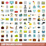 100 tallage icons set, flat style. 100 tallage icons set in flat style for any design vector illustration royalty free illustration