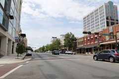 Downtown Tallahassee View Near E Park Ave and S Monroe Street. Tallahassee, FL, USA - July 15, 2018: Street view from East Park Avenue and South Monroe Street in royalty free stock photography