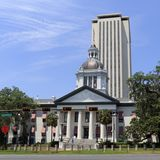 Front of Historic State Capital Downtown. Tallahassee, FL, USA - May 13, 2018: Front of historic state capital downtown. Historic State Capital in front of the stock photo
