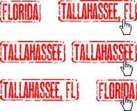 Tallahassee, Florida. Pack of rubber stamps with USA states and capitals Royalty Free Stock Image