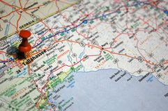 Tallahassee, Florida. A map of Tallahassee, Florida marked with a push pin royalty free stock images