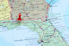 Tallahassee pinned on a map of USA. Photo of pinned Tallahassee on a map of USA. May be used as illustration for traveling theme Royalty Free Stock Photography