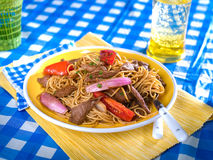 Tallarin Saltado, beef and noodle stir fry,a typical Peruvian dish Stock Image