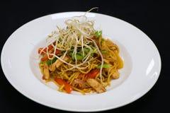 Tallarines asiáticos del pollo del estilo con los brotes de haba imagen de archivo