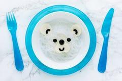 Tallarines de arroz de blanco del oso polar Imágenes de archivo libres de regalías