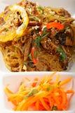 Tallarines de arroz de cristal con carne de vaca y zanahorias Fotografía de archivo libre de regalías