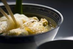 Tallarines de arroz de la sopa de pollo Fotografía de archivo
